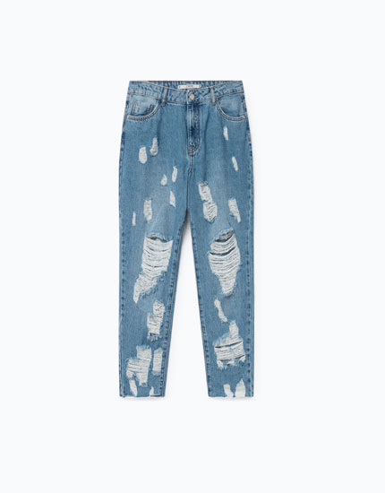 JEANS RELAXED FIT SUPER DESTROYED