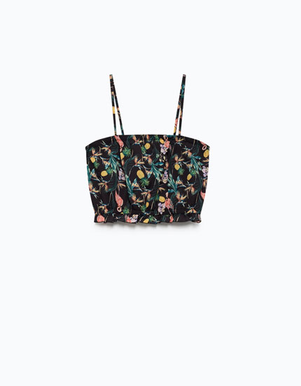 TOP CROPPED PRINT TROPICAL