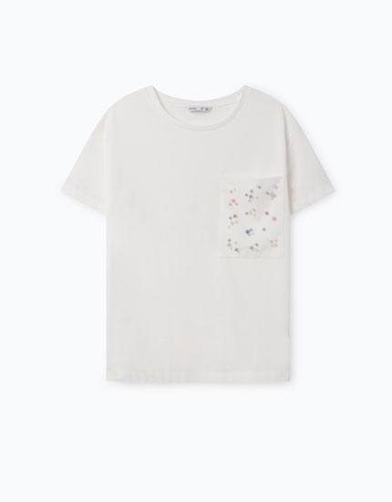 T-SHIRT WITH PEARL-BEAD-EMBELLISHED POCKET