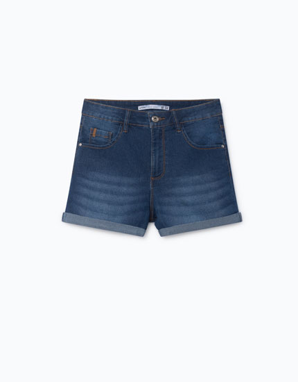 PANTALONS CURTS DENIM HIGH RISE