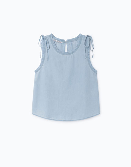 SLEEVELESS DENIM BLOUSE