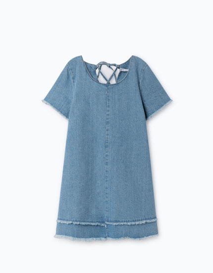 DENIM DRESS WITH BACK OPENING