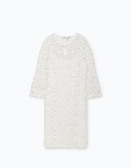 CROCHET DRESS WITH FLARED SLEEVES