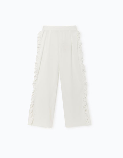 TROUSERS WITH SIDE RUFFLES