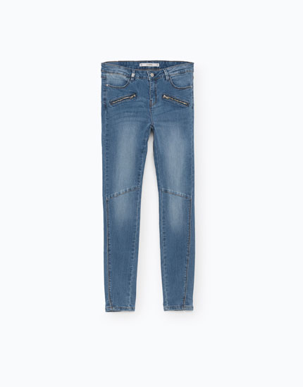 BIKER JEANS WITH FRONT ZIPS