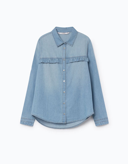 DENIM SHIRT WITH GATHERED DETAIL