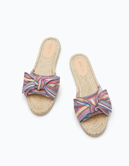 ESPADRILLE SLIDE SANDALS WITH BOW