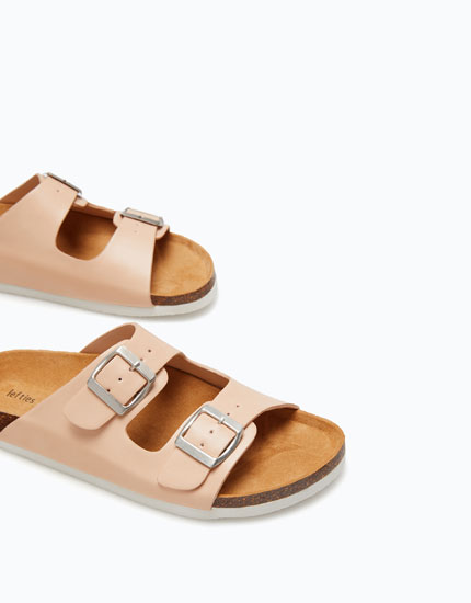 CORK SANDALS WITH 2 BUCKLES