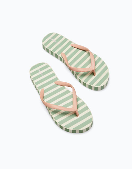 STRIPED THICK-SOLE BATH SANDALS