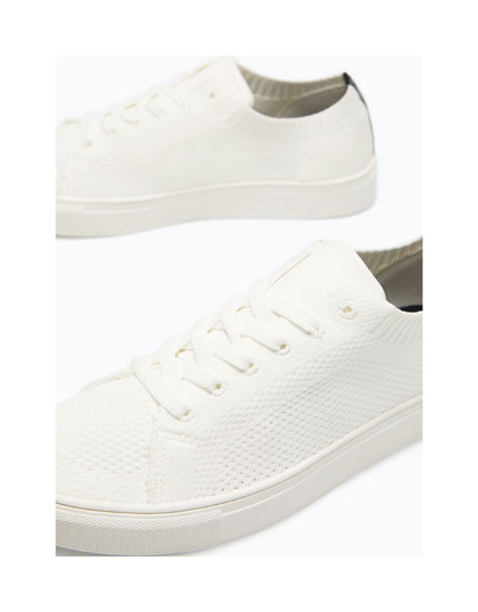 FABRIC PLIMSOLLS WITH HEEL DETAIL