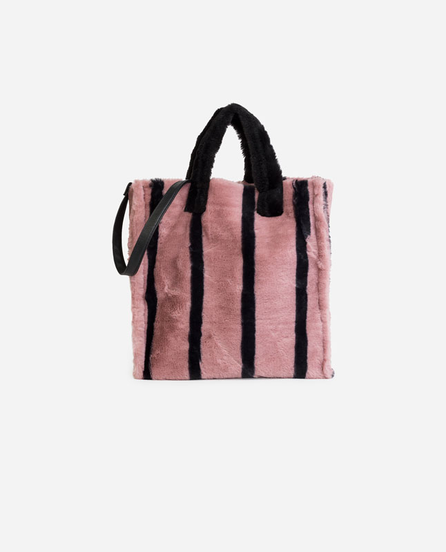 Lefties Faux Fur Tote Pink 01332305 I2018
