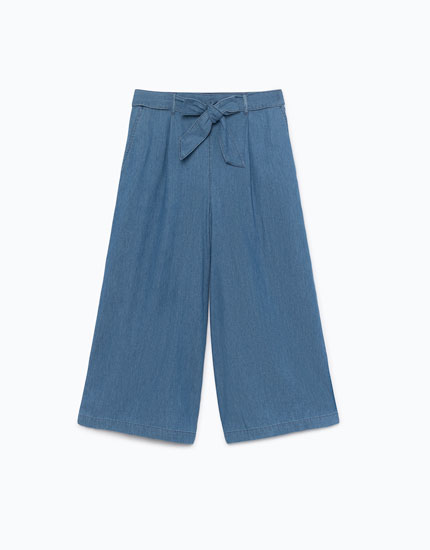 DENIM CULOTTES WITH BELT