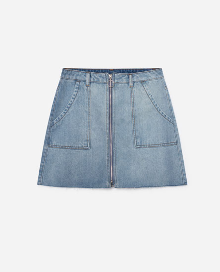 DENIM MINI SKIRT WITH ZIP