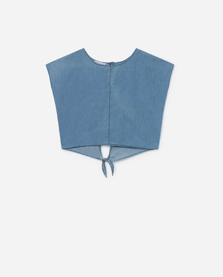 DENIM BLOUSE WITH BACK KNOT