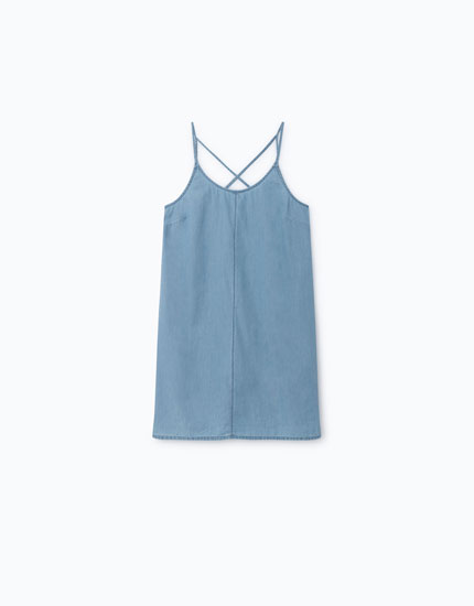 STRAPPY DENIM DRESS