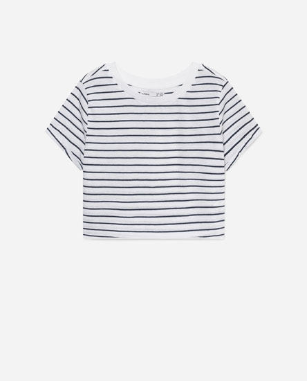 CROPPED STRIPED T-SHIRT
