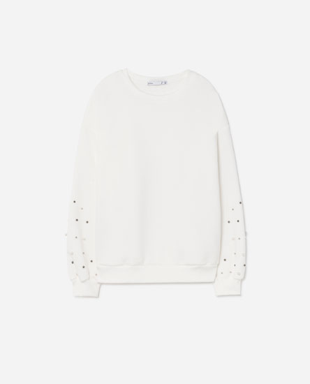SWEATSHIRT WITH FAUX PEARLS