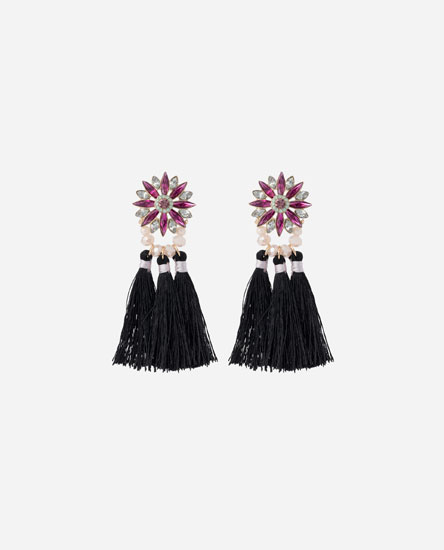 FRINGED FLOWER EARRINGS