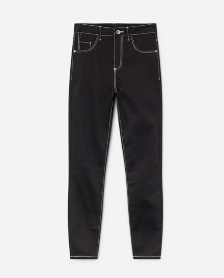 SUPER SKINNY JEANS WITH CONTRAST TOPSTITCHING