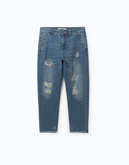 VINTAGE WASH RIPPED DENIM CHINOS