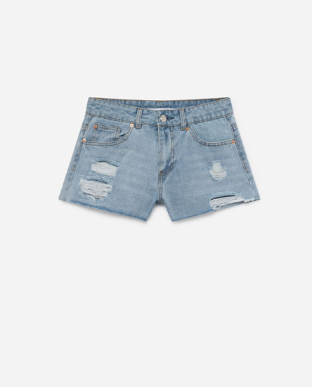PANTALONS CURTS DENIM LOW RISE