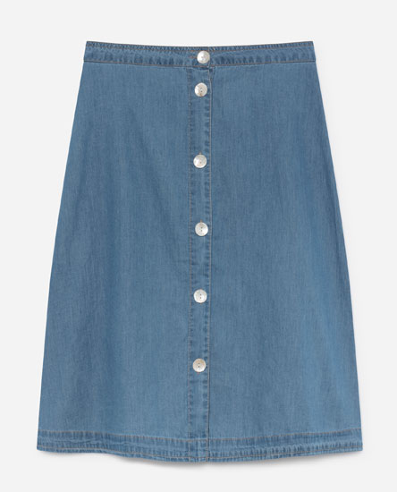 BUTTONED DENIM MIDI SKIRT