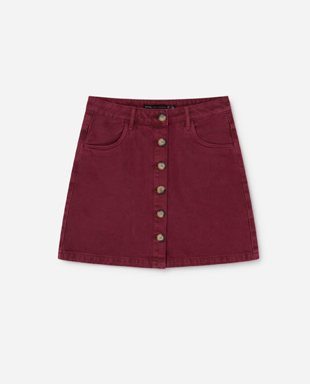 COLOURED DENIM MINI SKIRT