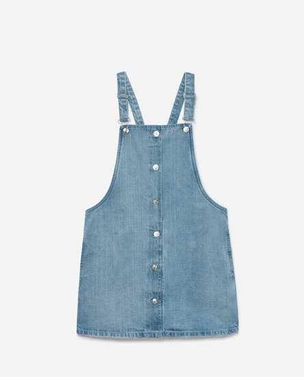 DENIM PINAFORE DRESS WITH BUTTONS