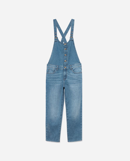 BUTTON-UP LONG DENIM DUNGAREES