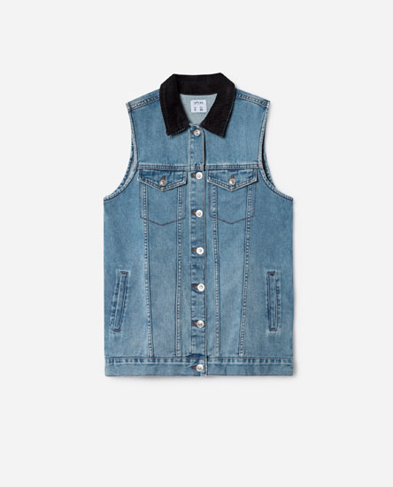 DENIM WAISTCOAT WITH CORDUROY COLLAR
