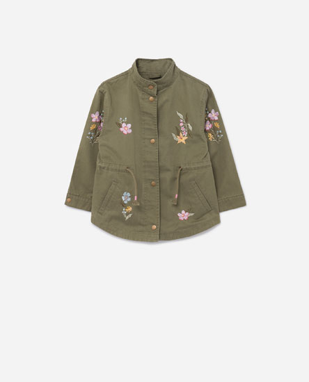 OVERSHIRT WITH FLORAL EMBROIDERY