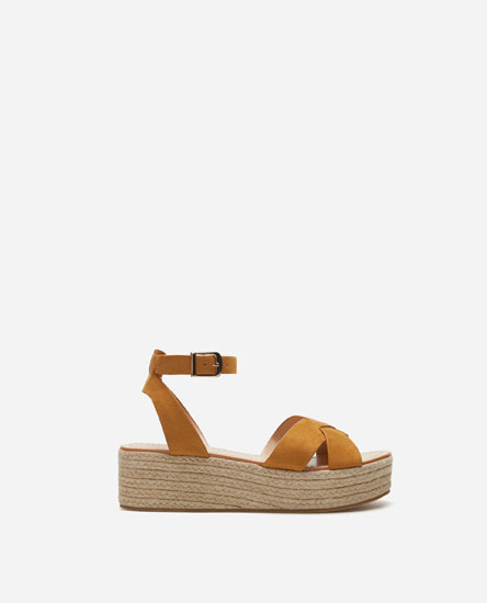 FLATFORM SANDALS WITH JUTE-LINED BLOCK WEDGES