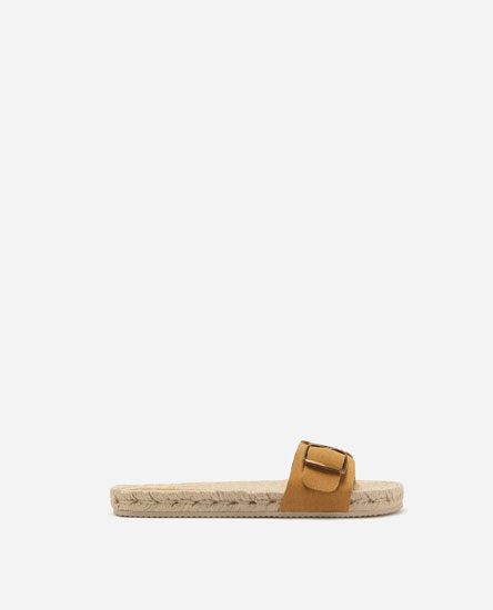 BUCKLED JUTE SLIDES