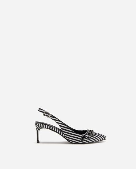 PRINTED MID-HEEL SLINGBACK SHOES