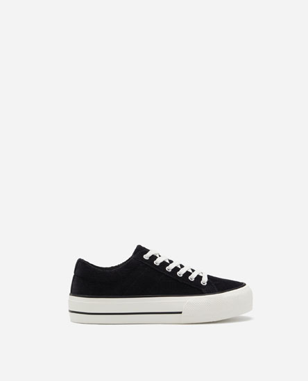 PLIMSOLLS WITH GROOVED CHUNKY SOLE AND CORDUROY UPPER