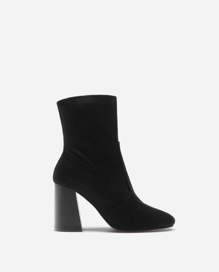 STRETCH HIGH HEEL ANKLE BOOTS WITH SQUARED TOES