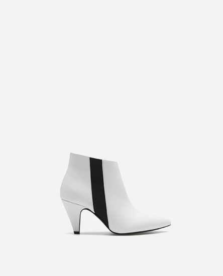 TWO-TONE HIGH-HEEL ANKLE BOOTS