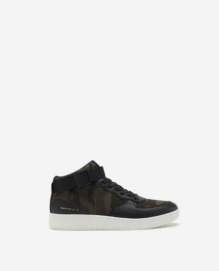 CAMOUFLAGE PRINT HIGH-TOP TRAINERS