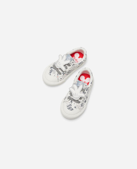 MICKEY MOUSE PLIMSOLLS WITH PATCHES AND HAND DETAIL