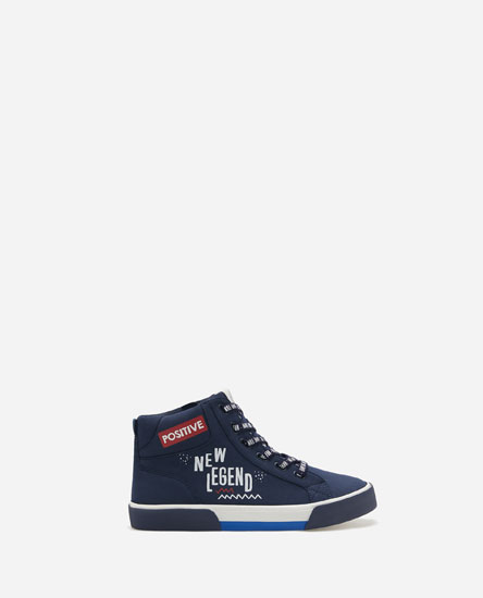 HIGH-TOP SNEAKERS WITH SLOGAN