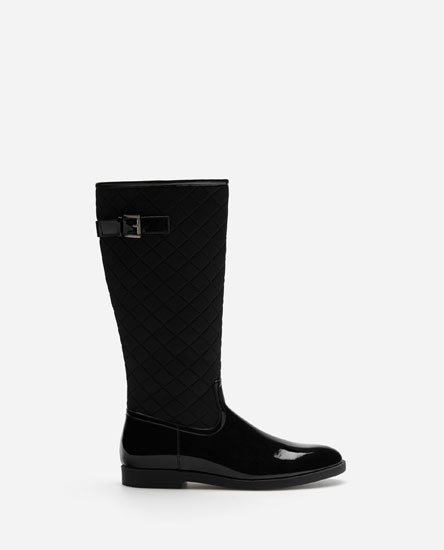 FAUX-PATENT-FINISH RIDING BOOTS