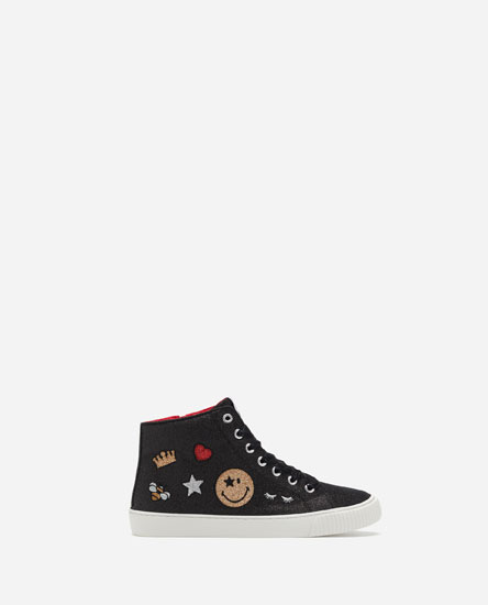 GLITTERY SMILEY FACE HIGH-TOP SNEAKERS