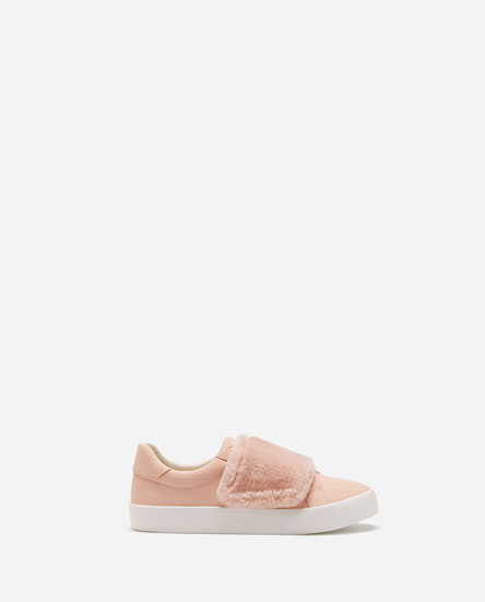 PLIMSOLLS WITH FAUX FUR HOOK-AND-LOOP STRAP