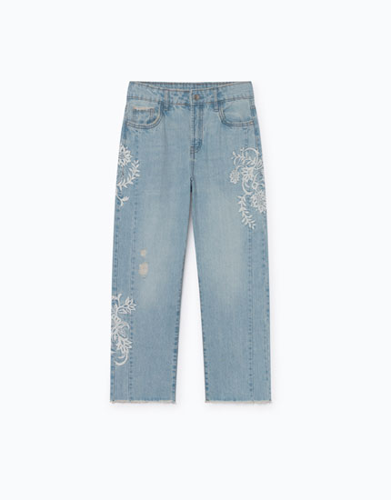 CROPPED MOM JEANS BORDADO