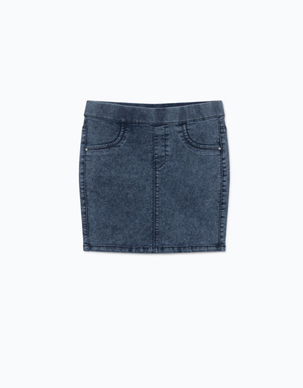 FITTED DENIM MINI SKIRT