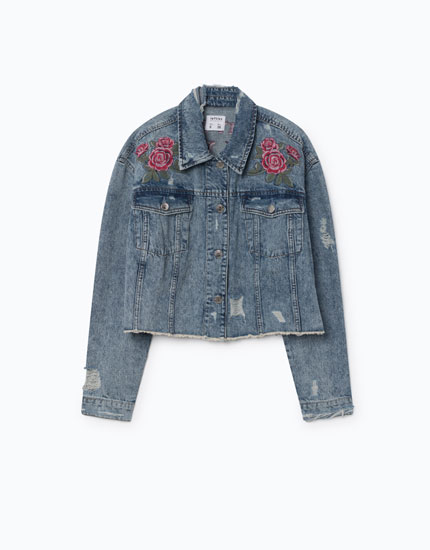 SHORT EMBROIDERED DENIM JACKET