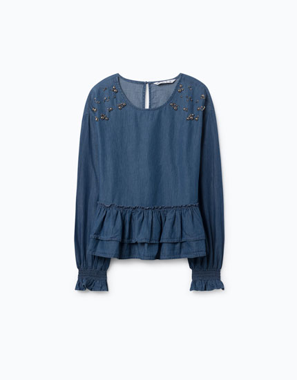 LIGHTWEIGHT BEJEWELLED DENIM BLOUSE