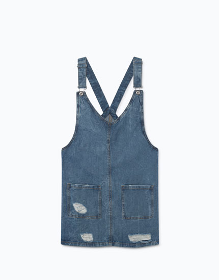 RIPPED DENIM PINAFORE DRESS