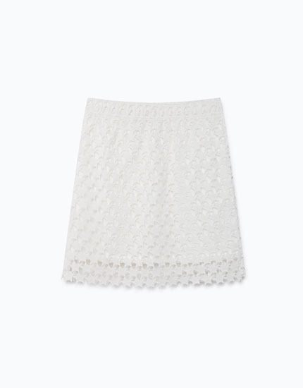 GUIPURE LACE SKIRT WITH STARS