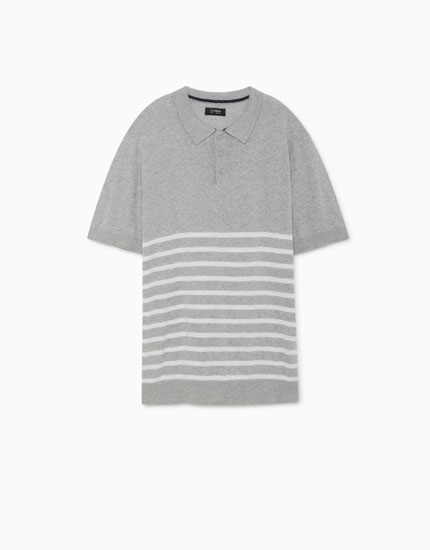 POLO SHIRT WITH PLACEMENT STRIPES